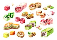 Turkish delights set. Watercolor hand drawn illustration, isolated on white background.  Stock Photography