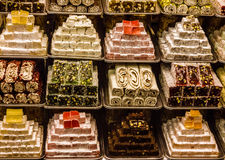 Turkish Delights in Spice Bazaar, Istanbul, Turkey Royalty Free Stock Photo
