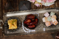 Turkish delights with tasbih Royalty Free Stock Images