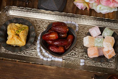 Turkish delights with tasbih Royalty Free Stock Photos