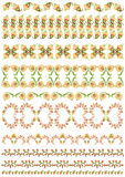Turkish design border set. Studied patterns of the eastern border of traditional ottoman set Royalty Free Stock Images