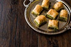 Turkish Dessert Baklava with pistachio on silver tray. Stock Photography
