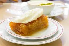 Turkish Dessert Ekmek Tatlisi with Sutlac Royalty Free Stock Images