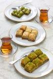 Turkish desserts, baklava & tea royalty free stock photography