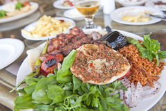 Turkish dinner. Turkish brad and the mix of the traditional Turkish food Royalty Free Stock Photos