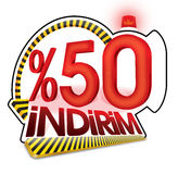 Turkish Discount Scale Percentage. Turkish Spelling Stock Photography