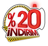 % 20 Turkish Discount Scale Percentage. Royalty Free Stock Images