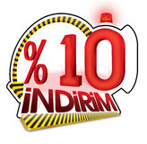 % 10 Turkish Discount Scale Percentage. Turkish Discount Scale Percentage. Turkish Spelling Royalty Free Stock Image