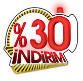 % 30 Turkish Discount Scale Percentage. Thirty percent. Stock Images