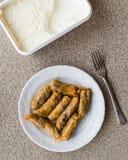 Turkish Dolma Lahana Sarmasi / Cabbage Rolls with yogurt Stock Photos