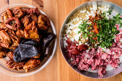 Turkish Dolma Stuff red pepper, eggplant, minced meat, onions, tomato paste, parsley, rice and spices Stock Photo