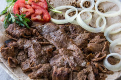 Turkish Doner Kebab on a lavash / Shawarma Beef. Royalty Free Stock Images