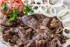 Turkish Doner Kebab on a lavash / Shawarma Beef. Stock Image
