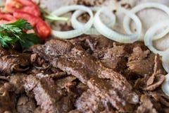 Turkish Doner Kebab on a lavash / Shawarma Beef. Stock Photo
