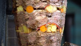 Turkish doner kebab with vegetables. Traditional kebab at Bodrum, Mugla - TURKEY. Turkish doner kebab with vegetables stock video
