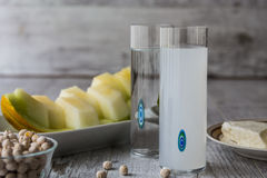 Turkish Drink Raki with melon and white chickpeas. Royalty Free Stock Image