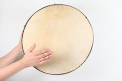 Turkish Drum. Musician drummer beats the tomtom Royalty Free Stock Photography