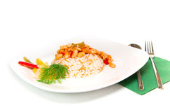 Turkish dry beans and rice Stock Image