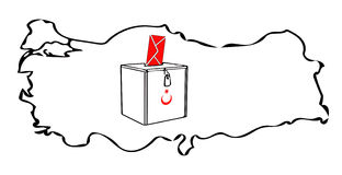 Turkish election Turkey map envelope  sketch on white Royalty Free Stock Photo