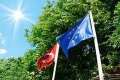 Turkish and European Union flag Stock Image