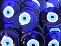 Turkish Evil Eye Beads. Traditional blue Turkish evil eye beads for sale in Antalya, Southern Turkey Stock Image