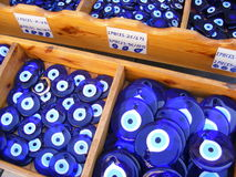 Turkish Evil Eye Beads. Traditional blue Turkish evil eye beads for sale in Antalya, Southern Turkey Stock Photo