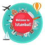 Turkish famous landmarks vector illustration
