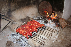 Turkish famous meal sis kebap Stock Photo