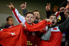 Turkish Fans. PRAGUE 10/10/2015 _ Match of the EURO 2016 qualification group A Czech Republic - Turkey stock image