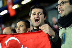 Turkish Fans. PRAGUE 10/10/2015 _ Match of the EURO 2016 qualification group A Czech Republic - Turkey Royalty Free Stock Photography