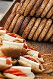 Turkish Fast Food Gevrek. Close-up  Turkish Simit on market Stock Images