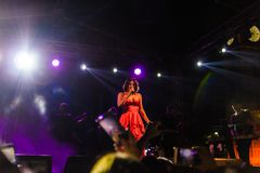 Goksel On Annual Golden Buttonwood Music Festival In Cinarcik Town - Turkey. Turkish female singer and songwriter Goksel on Altincinar or Golden Buttonwood Music stock photography