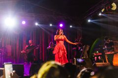 Goksel On Annual Golden Buttonwood Music Festival In Cinarcik Town - Turkey. Turkish female singer and songwriter Goksel on Altincinar or Golden Buttonwood Music stock images