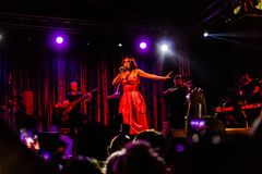 Goksel On Annual Golden Buttonwood Music Festival In Cinarcik Town - Turkey. Turkish female singer and songwriter Goksel on Altincinar or Golden Buttonwood Music royalty free stock images