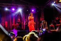 Goksel On Annual Golden Buttonwood Music Festival In Cinarcik Town - Turkey. Turkish female singer and songwriter Goksel on Altincinar or Golden Buttonwood Music royalty free stock image