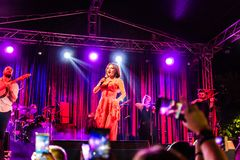 Goksel On Annual Golden Buttonwood Music Festival In Cinarcik Town - Turkey. Turkish female singer and songwriter Goksel on Altincinar or Golden Buttonwood Music royalty free stock photography