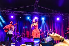 Goksel On Annual Golden Buttonwood Music Festival In Cinarcik Town - Turkey. Turkish female singer and songwriter Goksel on Altincinar or Golden Buttonwood Music stock photos