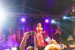 Goksel On Annual Golden Buttonwood Music Festival In Cinarcik Town - Turkey. Turkish female singer and songwriter Goksel on Altincinar or Golden Buttonwood Music royalty free stock photo