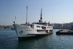 Turkish Ferry. Ferry is closing to the station at kadikoy Royalty Free Stock Photo