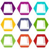 Turkish fez icon set color hexahedron. Turkish fez icon set many color hexahedron isolated on white vector illustration Stock Image