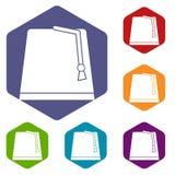 Turkish fez icons set hexagon. Isolated vector illustration Stock Photos