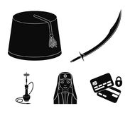 Turkish fez, yatogan, turkish, hookah.Turkey set collection icons in black style vector symbol stock illustration web. Turkish fez, yatogan, turkish, hookah Stock Images