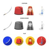 Turkish fez, yatogan, turkish, hookah.Turkey set collection icons in cartoon,flat,monochrome style vector symbol stock. Illustration royalty free illustration