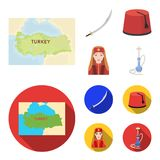 Turkish fez, yatogan, turkish, hookah.Turkey set collection icons in cartoon,flat style vector symbol stock illustration.  royalty free illustration