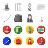 Turkish fez, yatogan, turkish, hookah.Turkey set collection icons in monochrome,flat style vector symbol stock. Illustration royalty free illustration