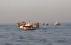 Turkish fisherman's boats at sunrise Stock Photography