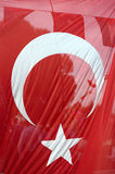 Turkish flag. Big transparent Turkish flag in Istanbul Royalty Free Stock Photography
