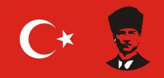 Turkish flag. With the image of Turkish republic Mustafa Kemal Ataturk royalty free illustration