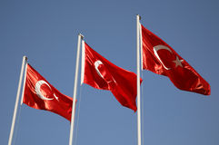 Turkish Flag. Giant Turkish Flags against blue sky Stock Photo