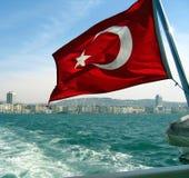 Turkish Flag. On an istanbul ferry stock photos